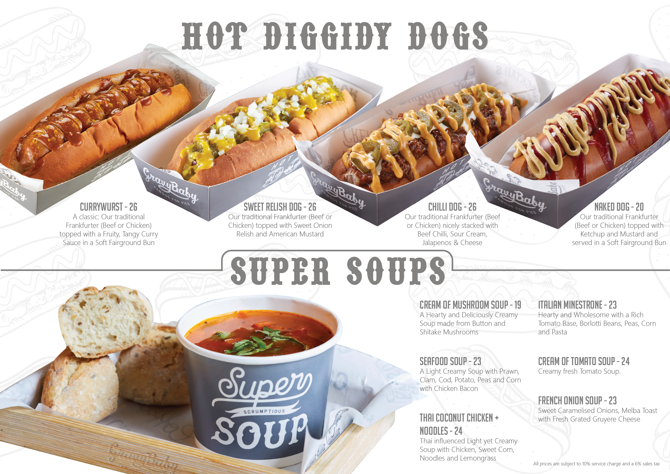 hot diggidy dogs, super soups, wonderful waffales, ice cream